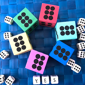 Dices on the table by Alesanko Rodriguez - Artistic Objects Other Objects ( player, colorful, blue, background, dices, artistic objects, table, win, game )
