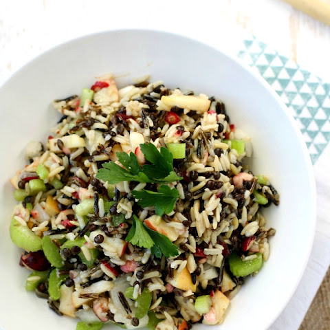 Wild Rice Lentil Salad with Apples and Cranberries.
