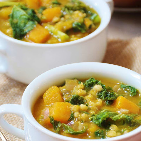 Acorn Squash, Kale, and Barley Soup (Vegan)