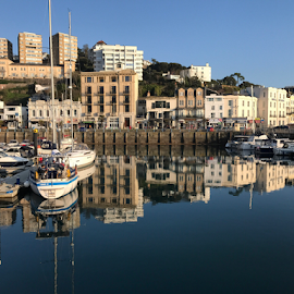 Reflecting in time in Torquay  by ADW Photography - City,  Street & Park  Vistas ( #reflection #seascape #torquay #harbour )