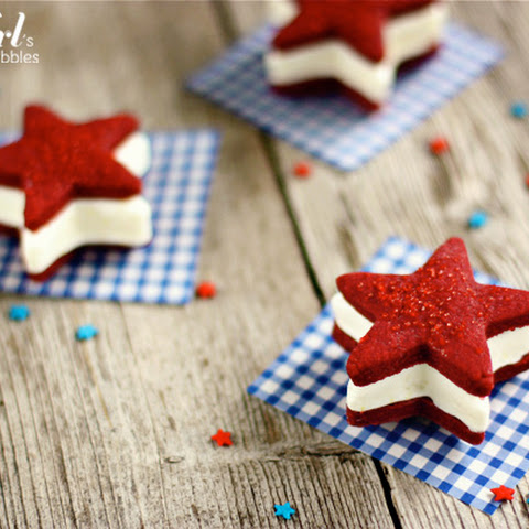 Patriotic Ice Cream Sandwiches, with Red Velvet Shortbread Stars & Cheesecake Ice Cream