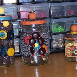 Re-Purposed Mason Jars by Sandy Stevens Krassinger - Artistic Objects Glass ( lace, colorful, glass, beads, buttons, decorations, jars )