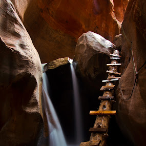 Kannaraville Creek by Bud Walley - Landscapes Caves & Formations ( ladder, utah, creek, falls, canyon, slot, kannaraville )