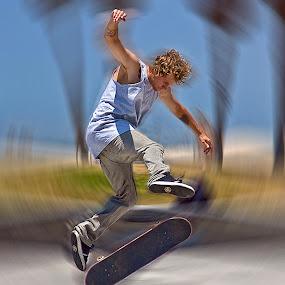 Skateboard Jumping by Ann J. Sagel - Sports & Fitness Skateboarding ( venice beach, skateboard,  )