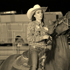 Say Cheese by Brian  Shoemaker  - Sports & Fitness Rodeo/Bull Riding ( horse, rodeo, cowgirl, smile )