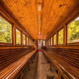 Inside the wagon by Grigoris Koulouriotis - Transportation Trains ( old, interrior, volos, greece, inside, empty, wagon, train, light, antique, moutzouris )