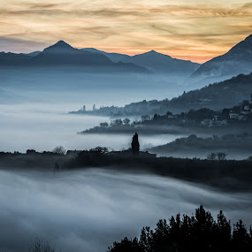 foggy by Frans Scherpenisse - Landscapes Weather ( hills, mountains, italia, fog, sunset, italy )