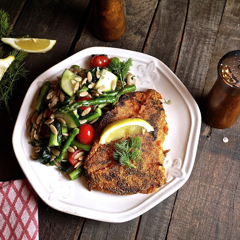 Cornmeal Crusted Trigger Fish with Dilly Farro Salad
