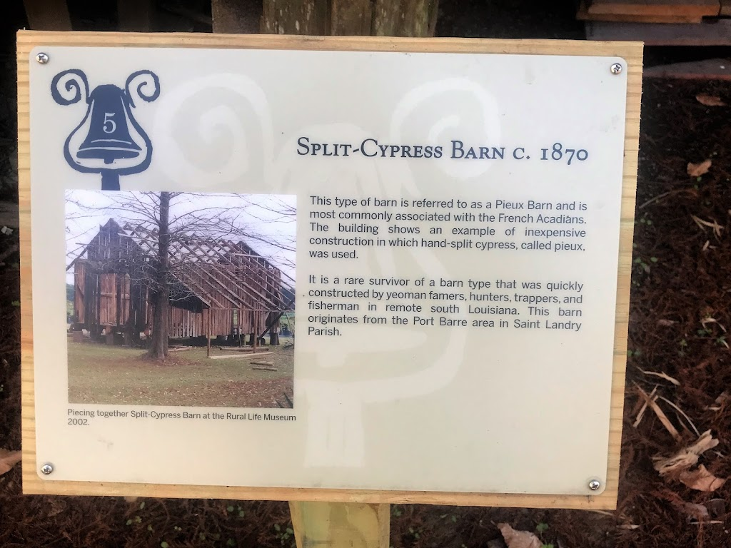 This type of barn is referred to a a Pieux Barn and is most commonly associated with the French Acadians. The building shows an example of inexpensive construction in which hand-split cypress, called ...