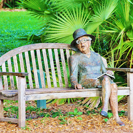 The Lady in the Park (Statue on a  Park Bench) by Bridgette Rodriguez - Buildings & Architecture Statues & Monuments ( statue, sitting, nature, bench, park, woman, park bench, lady )