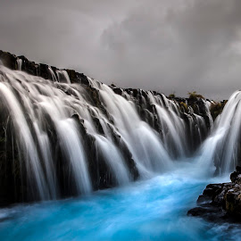 Blue Foss by Wim Denijs - Landscapes Waterscapes ( iceland, blue, waterfall, bruarfoss, foss, river, relax, tranquil, relaxing, tranquility )