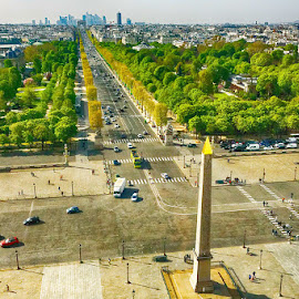 From Concorde to Etoile by Radu Eftimie - City,  Street & Park  Vistas ( paris, champs elysees, airian view )