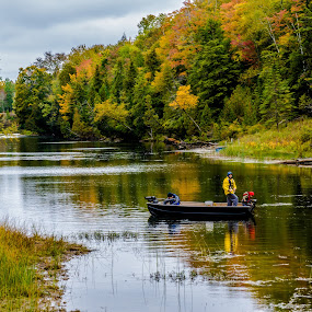 Making Memories by Deb Dicker - Transportation Boats ( sauble river, canada, nature, family, fall, father and son, ontario, fishing, boat,  )
