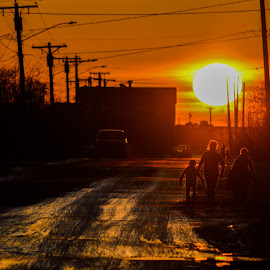 Bethel Sunset by Seth Tetoff - City,  Street & Park  Street Scenes ( family, sunset, beautiful, people, sun )