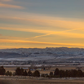 Western Skies  by Janet Aguila Krause - Landscapes Travel ( hills, mountains, utah, snow, ogden, sunrise )