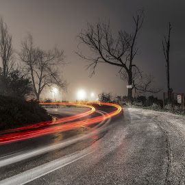 by NitZ Photography - Abstract Light Painting ( car, blackandwhite, tree, black and white, colors, beautiful, beauty, road )