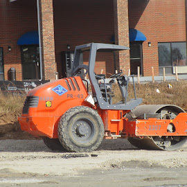 Construction Equipment by David Jarrard - Transportation Other ( roller, orange, heavy equipment, roadways and bridges, tractor )