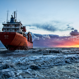 Stranded ship by Gianluca Presto - Transportation Boats ( clouds, stranded, sky, hdr, sunset, ship, cloudy, sea, beach, boat, italy,  )