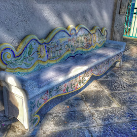Colorful Rest by Susan McDavit - Artistic Objects Furniture ( bench, art, street, architecture, italy )
