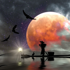 Freeing of the Comorant by Charlie Alolkoy - Digital Art Places ( bird, moon, cormorant, asia, night, reflect )