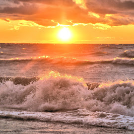 Wind Blew The Sun Down 9 by Terry Saxby - Landscapes Sunsets & Sunrises ( water, canada, terry, huron, sunset, goderich, ontario, lake, saxby, nancy )