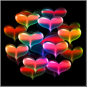 The Colors of my Love by Nancy Bowen - Illustration Holiday ( hearts, background, black, multicolored )