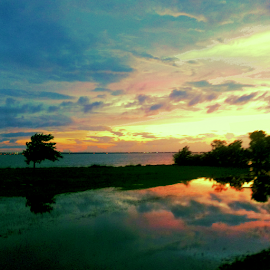 Majestic Drive-In by Being Melissa - Novices Only Landscapes ( clouds, pastel, my beautiful oklahoma, cloud reflection, oklahoma sunsets, oklahoma, sunset, reflections, mirror image, lake, pink )