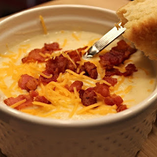 Creamy Baked Potato Soup, Topped with Crispy Bacon
