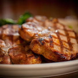 Pork Chops by Jim DeMicco - Food & Drink Plated Food ( meat, pork, plate, grilled, pork chops )