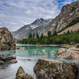 Lake In The Mountains by Riaz Paras - Landscapes Mountains & Hills ( mountains, gilgit, asia, gilgit-baltistan, lake, nalter-lake, beautiful-lake, riazparas )