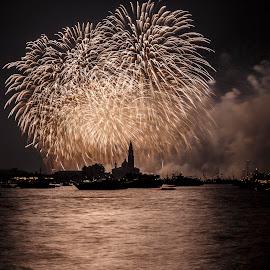 fireworks on venice by Gianluca Pisano - City,  Street & Park  Vistas ( redeemer, patron, coun, popular, venice, party, saint, redentore )