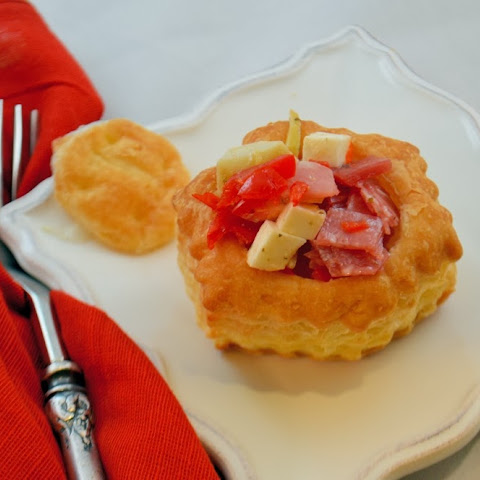 Chopped Antipasto Salad in Puff Pastry Cups