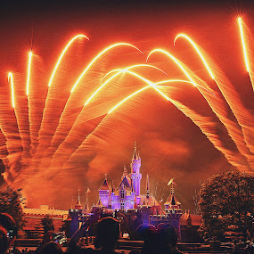 Happily ever after by D K - City,  Street & Park  Night ( amusement park, night photography, happily ever after, fireworks, castle, disneyland, palace, disney, nightscape )