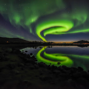 Aurora by Jens Andre Mehammer Birkeland - Landscapes Starscapes ( reflection, mountain, stars, aurora borealis, aurora, star, reflections, night,  )