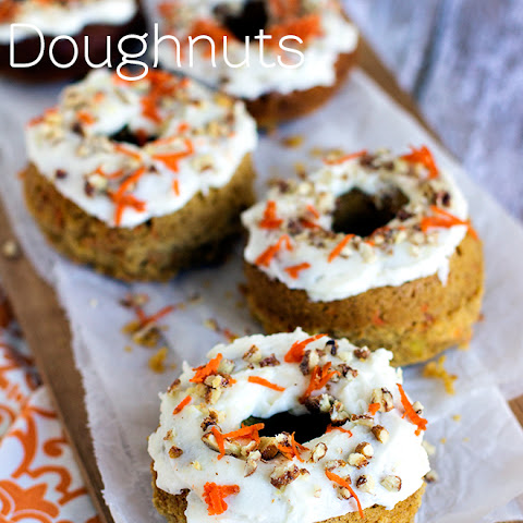 Baked Carrot Cake Doughnuts with Lemon Cream Cheese Frosting