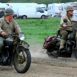 Motorcycles across the Atlantic by DJ Cockburn - Transportation Motorcycles ( britain, world war two, re-enactor, headcorn, british small arms company, re-enactment, vehicle, motorcycle, ashford, kent, dispatch rider, uk, bsa a7, antique, man, communication, england, motorbike, gi, american army, historic, living history, c5210946, display, heritage, history, transport, harley-davidson wla, 2018 combined ops military & air show, transportation, second world war, soldier, united states army, rlf 804, vintage, us army, 596pi 2e-3, sitting )