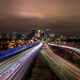 Big City Lights by Andy Chow - City,  Street & Park  Skylines ( minnesota, skyline, long exposre, minneapolis, light trails )