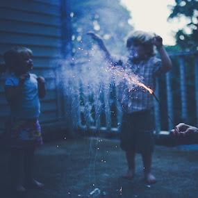 Sparklers by Annamarie Dearr - Babies & Children Children Candids ( night photography, children, candid, sparklers,  )