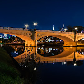Morell Bridge by Peter Nguyen - Buildings & Architecture Bridges & Suspended Structures ( hoddle street, south yarra, night photography, yarra river, melbourne, elegant, night, bridge, punt road, morell bridge, river )