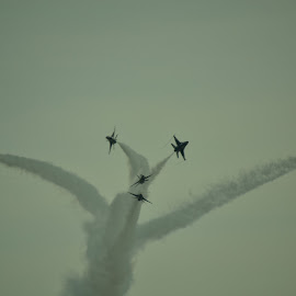 BREAK! by Thomas Fitzrandolph - Transportation Airplanes ( nikon d3100, air force, airplane, aircraft, niagara county ny, thunderbirds, air show )