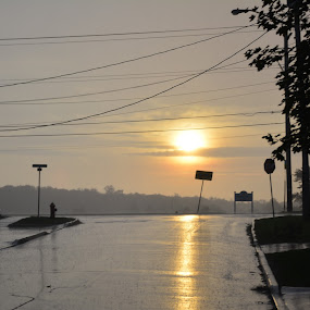Sunrise storm by Thomas Fitzrandolph - City,  Street & Park  Street Scenes ( nature, niagara county ny, sunrise, morning, lockport ny, rain )