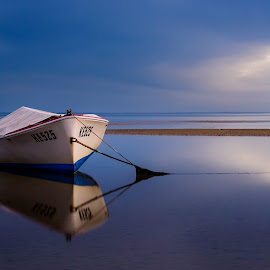 Peace and Calm by Alan Wright - Transportation Boats ( tides, clouds, water, reflection, peaceful, peace, boats, tide, sea, wezza, seaside, seascape )