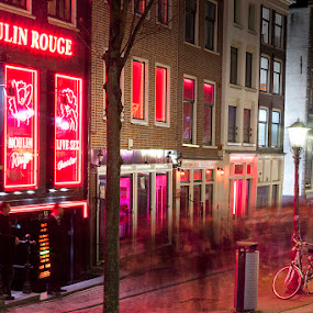 Moulin Rouge Club by Rich Voninski - City,  Street & Park  Street Scenes ( red light district, amsterdam )