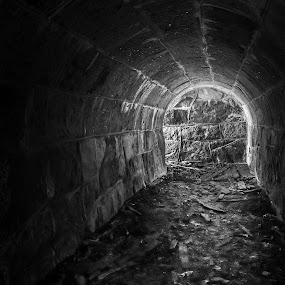 Old tunnel by Juha Kauppila - Black & White Buildings & Architecture ( old, white, dark, light, black, tunnel )