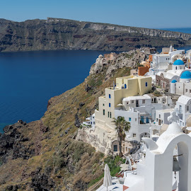 Santorini – The Wonder of Creation  by Shirshendu Sengupta - Landscapes Travel ( dome, volcanic, house, architecture, breathtaking, sun, aegean, island, volcano, sky, village, wonder, nostalgia, oia, lanes, santorini, painted, winding, church, greece, cycladic, cliff, white, sea, caldera, burst, fira, dusk, imerovigli, thira, cyclades, firostefani, crater, amazing, bell, point, narrow, tower, isle, thera, blue, sunset, streets, cathedral, panoramic )