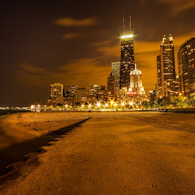 Nice night for a stroll. by Hamish Carpenter - Landscapes Travel ( clouds, sand, skyline, illinois, night photography, buildings, hancock, night, architecture, chicago, beach )