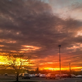 Another Parking Lot Sunset by Pat Lasley - Landscapes Sunsets & Sunrises ( clouds, sky, sunset, sun, golden hour )