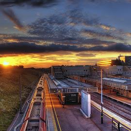 sunset at MK station by Darryll Jones - Transportation Trains ( uk, station, sunset, train, miltonkeynes, panorama )