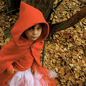 by Lori Lei Herr - Babies & Children Children Candids ( expression, red riding hood, fairy tale, children, hazel eyes, forest, brown hair, child, story, girl, red, color, autumn, fall, costume )