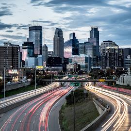 City of Minneapolis by Habashy Photography - City,  Street & Park  Skylines ( minnesota, minneapolis, night, city, nightscape )